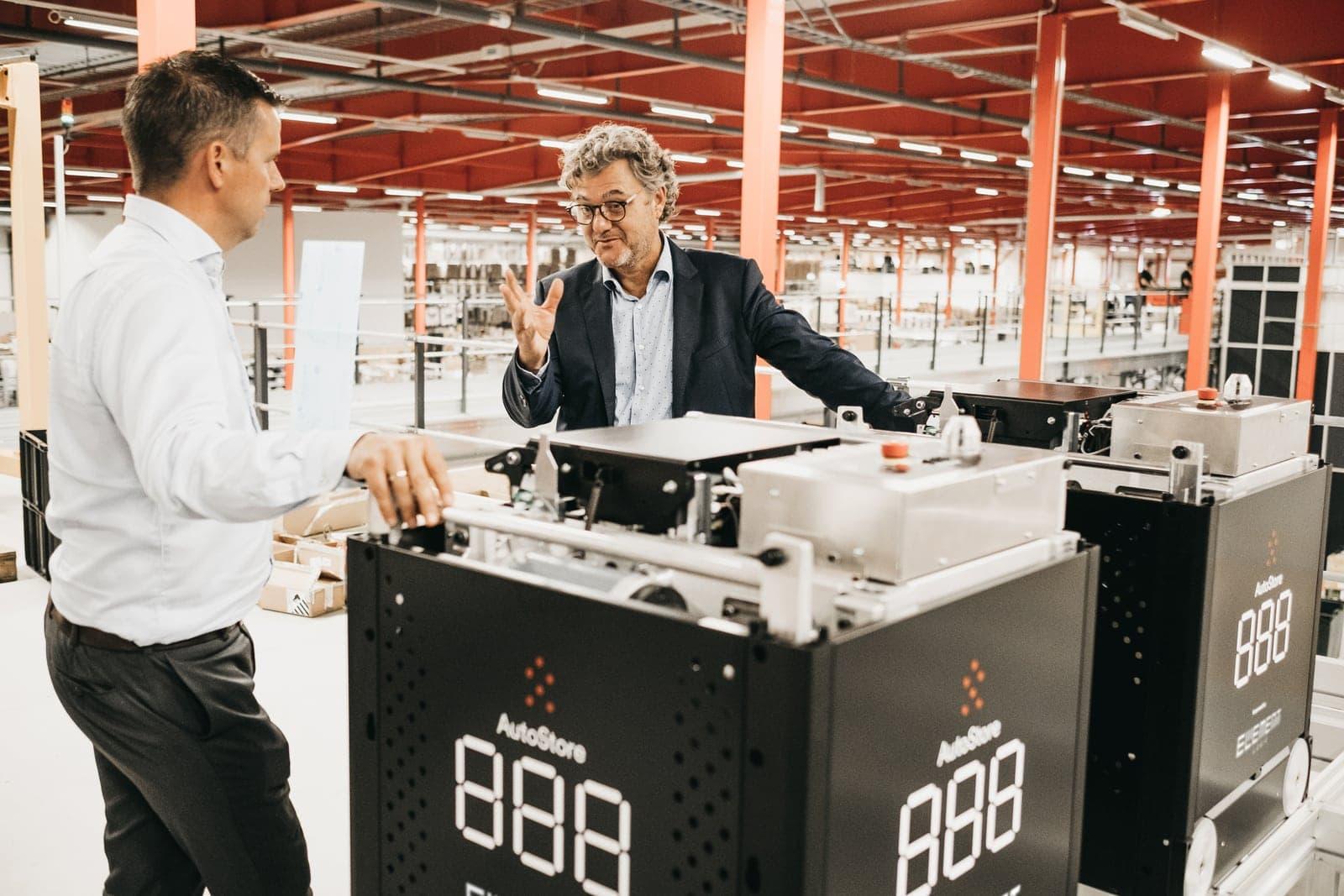 Boozt's Niels Hemmingsen and Element Logic's Håvard Hallås with AutoStore Black line