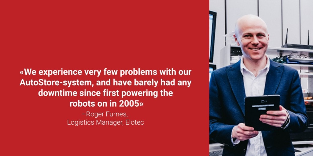 """A portrait photo of logistics manager Roger Furnes with the quote """"We experience very few problems with our AutoStore-system, and have barely had any downtime since first powering the robots on in 2005"""""""